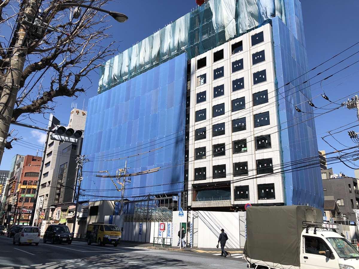 六本木の(仮称)六本木三丁目ホテルの2019年3月8日の工事現場