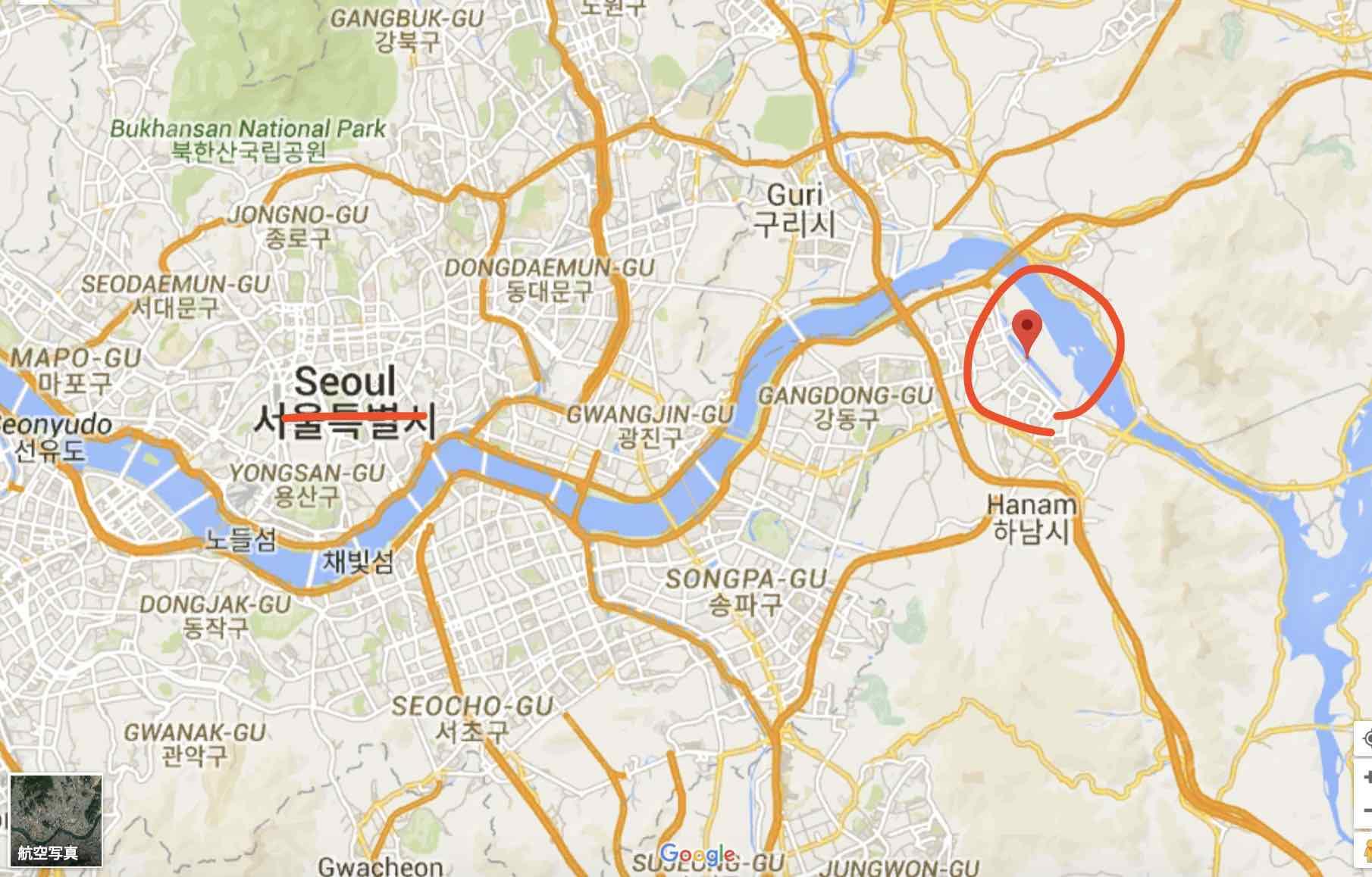 韓国競艇の渼沙里競艇場の場所