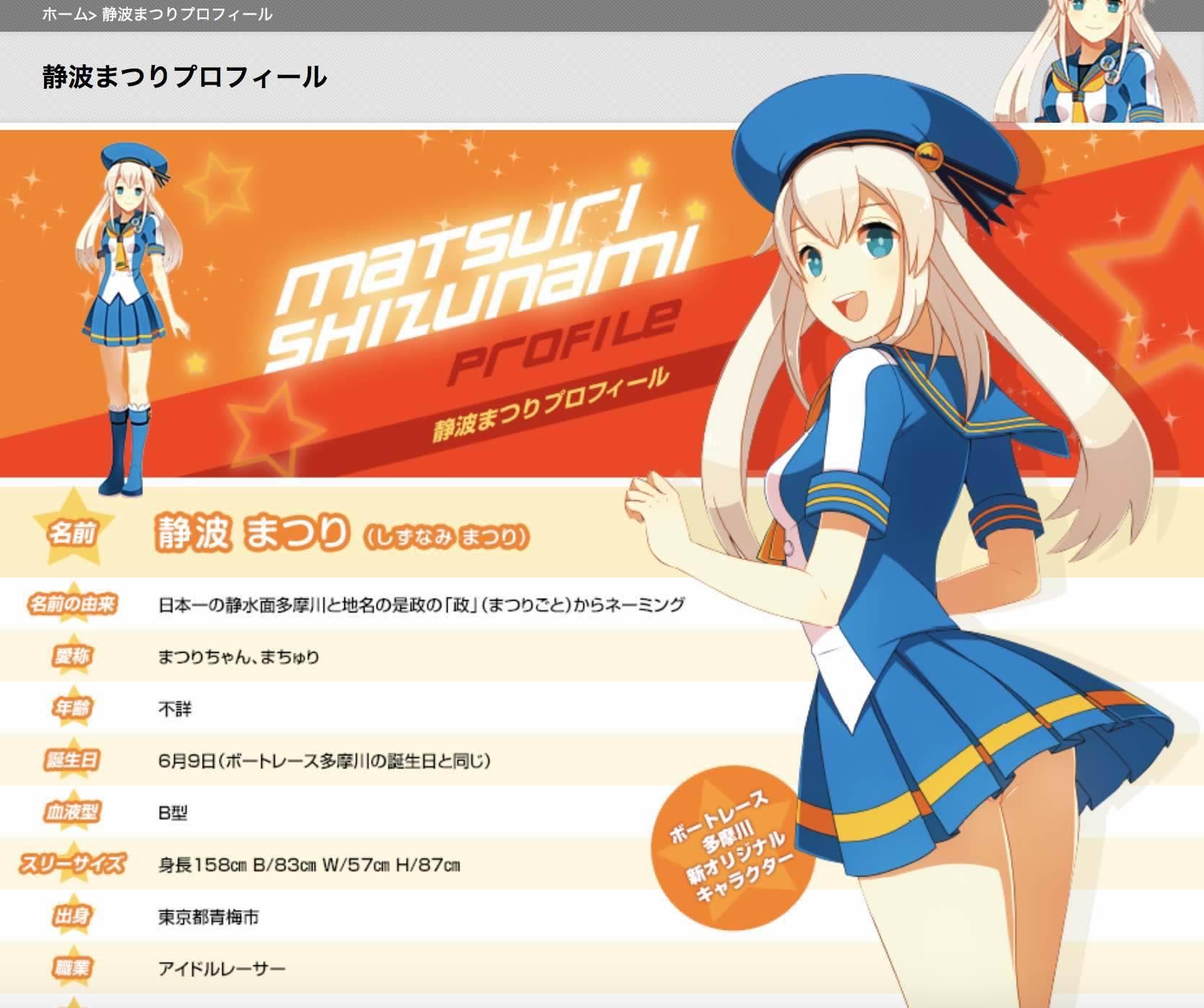 多摩川競艇場のマスコットキャラクター、静波まつりの画像