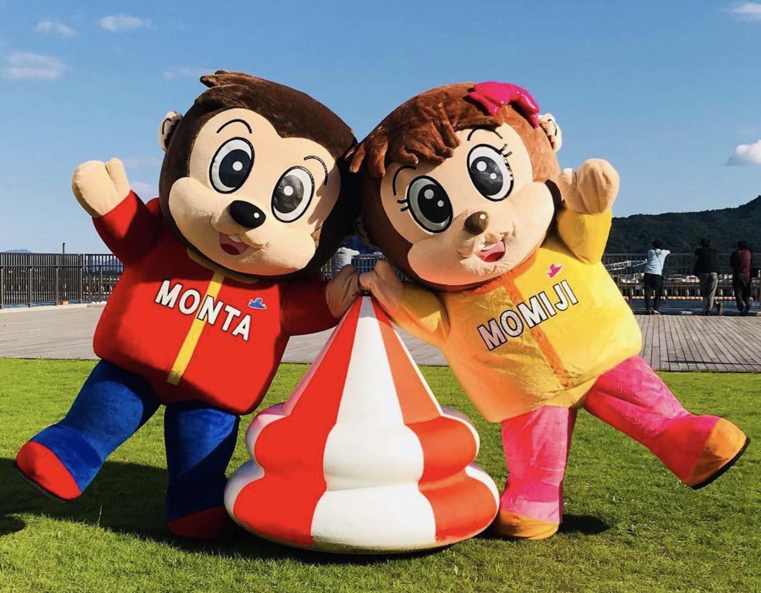 宮島競艇場のマスコットキャラクター、モンタとモミジの画像