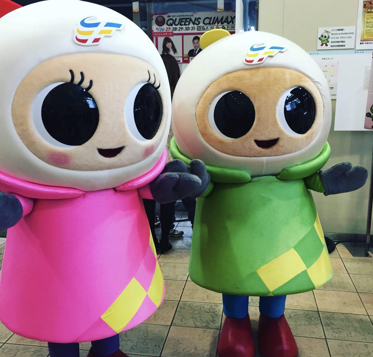 福岡競艇場のマスコットキャラクター、ペラ坊とペラ美の画像