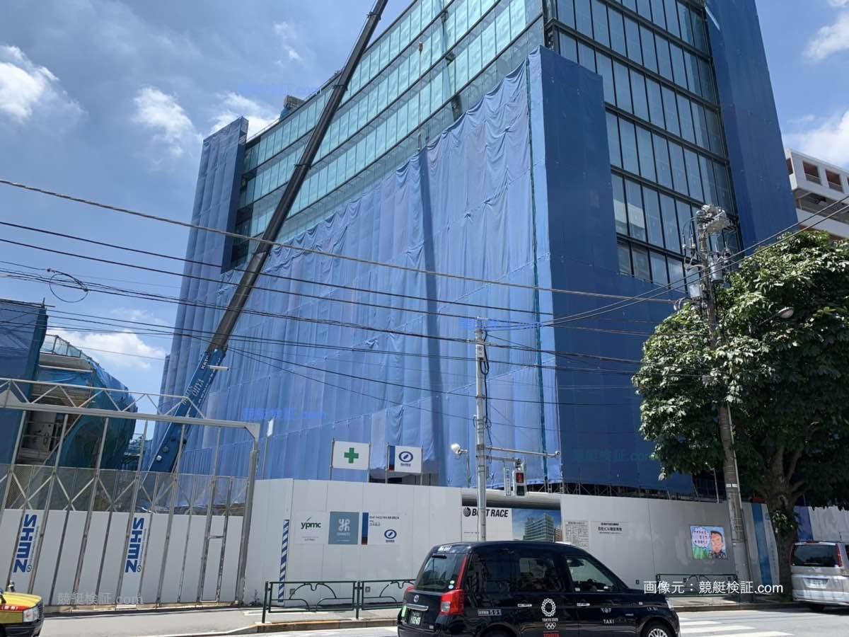 2019年 8月7日の六本木・競艇ボートレース振興会の本社ビル建設現場