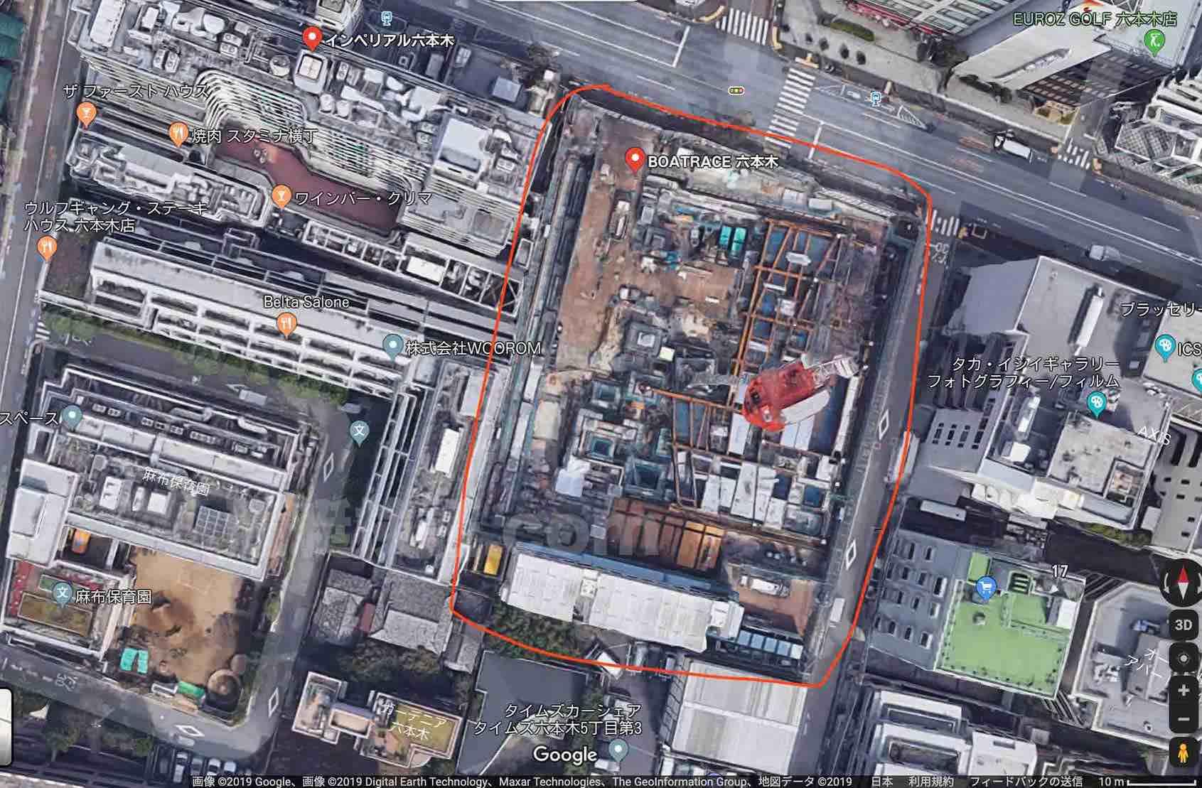 競艇BOATRACE振興会の本社ビル建設現場のgoogleマップによる上空写真