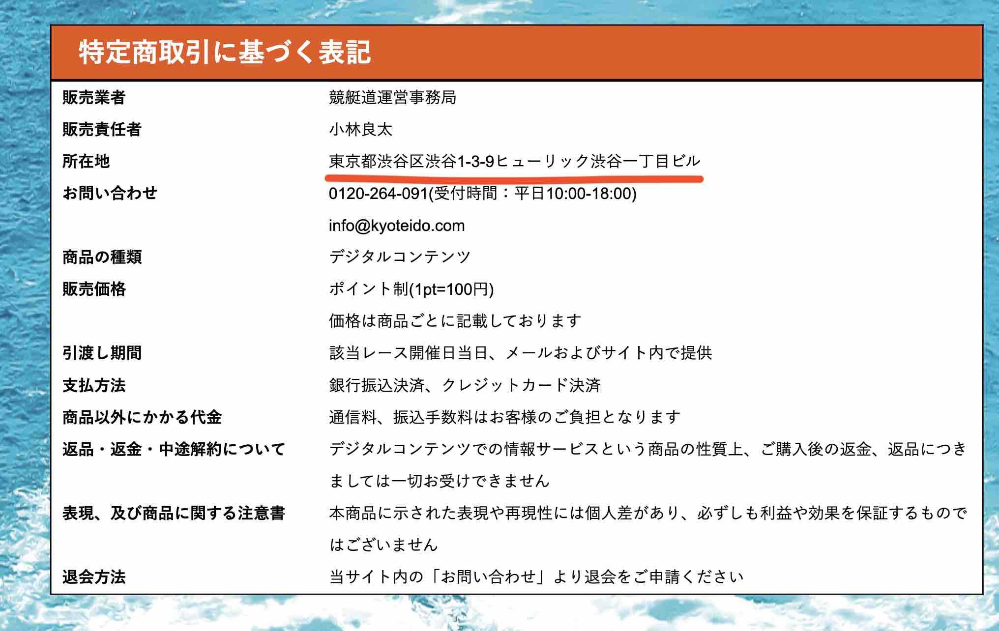 競艇道という競艇予想サイトの特定商に基づく表記