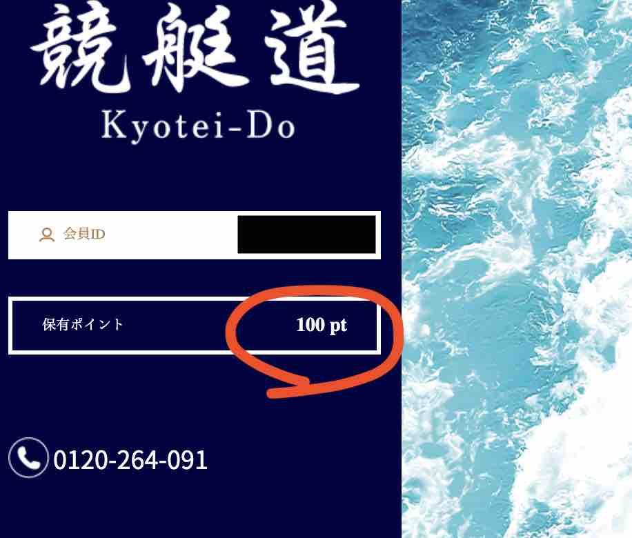 競艇道という競艇予想サイトの100pt付与はあるけど、課金しないと使えない