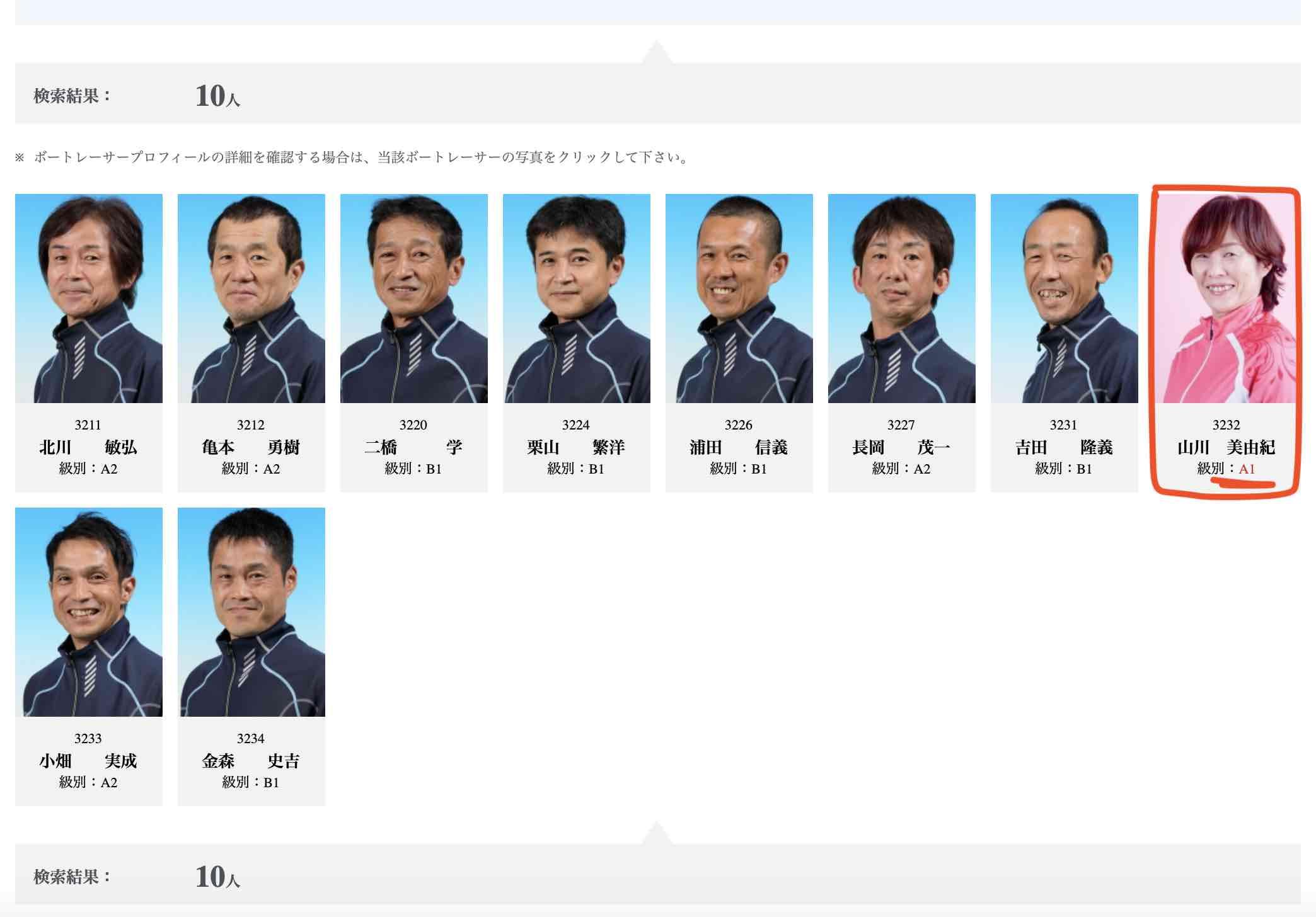 山川美由紀選手の57期の同期メンバー