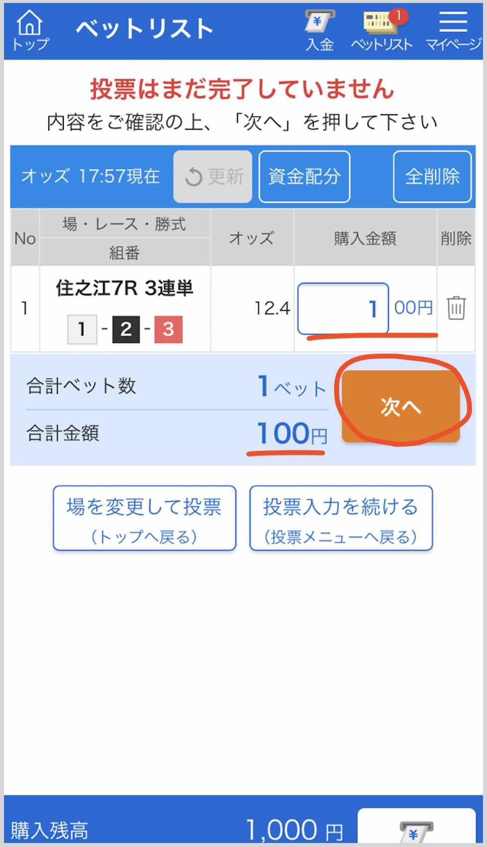 競艇ボートレースの舟券をネットで買う、競艇ボートレース投票サイトの確認画面