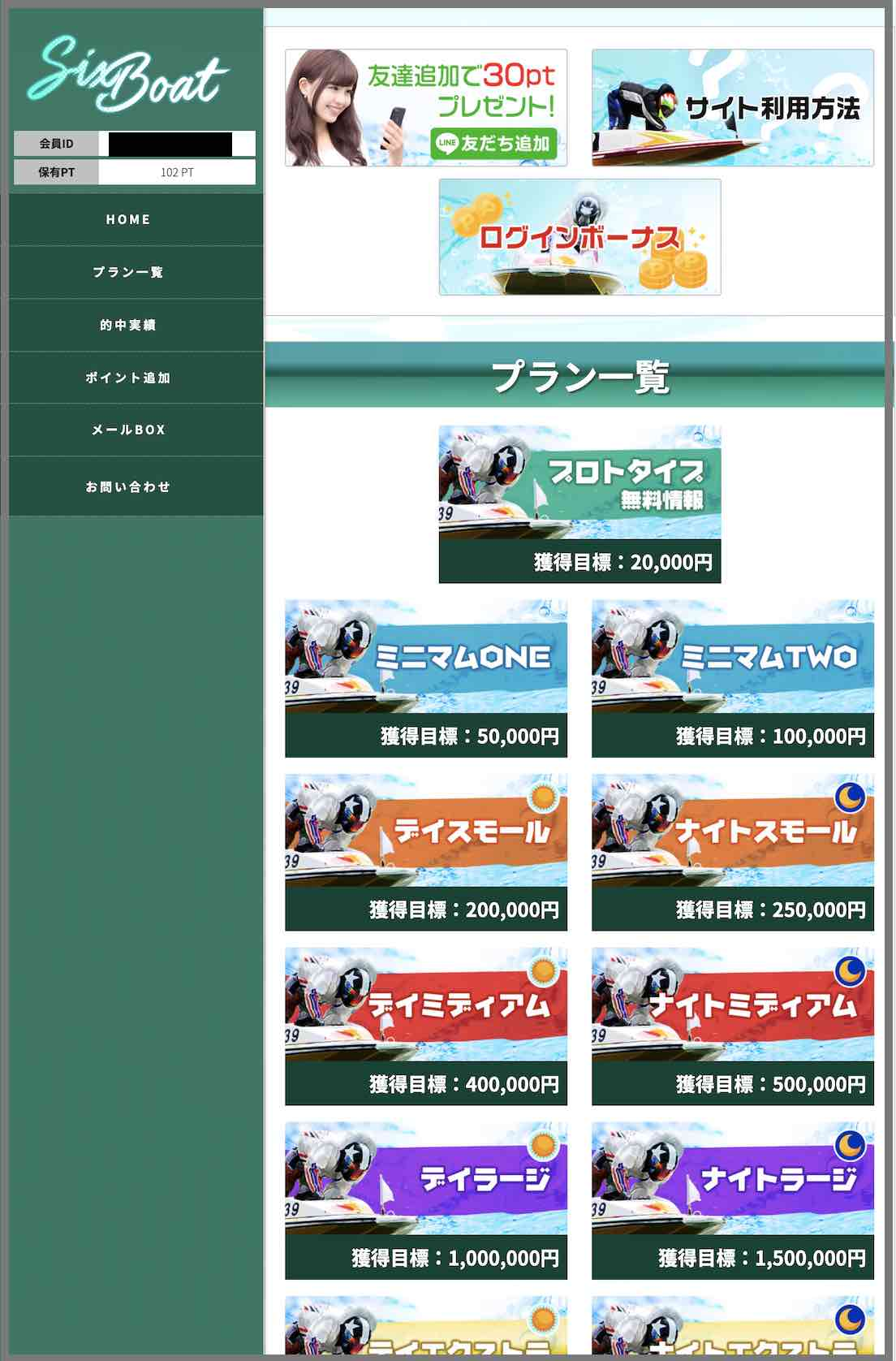 SIXBOAT(シックスボート)という競艇予想サイト(ボートレース予想サイト)の会員ページ
