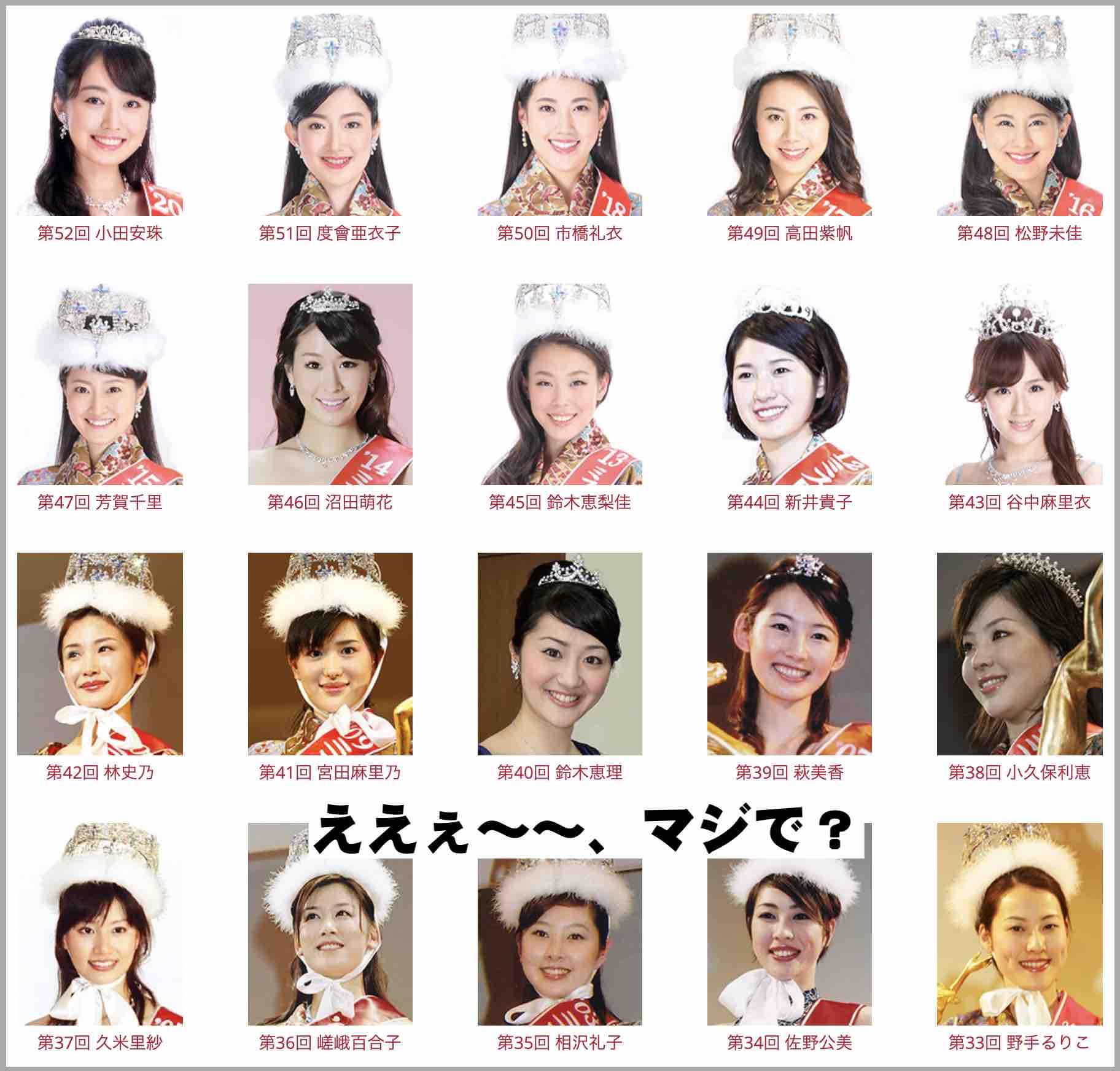 ミス日本の歴代グランプリ
