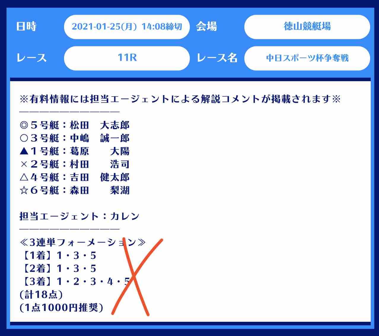 舟生という競艇予想サイトの無料予想(無料情報)の抜き打ち検証