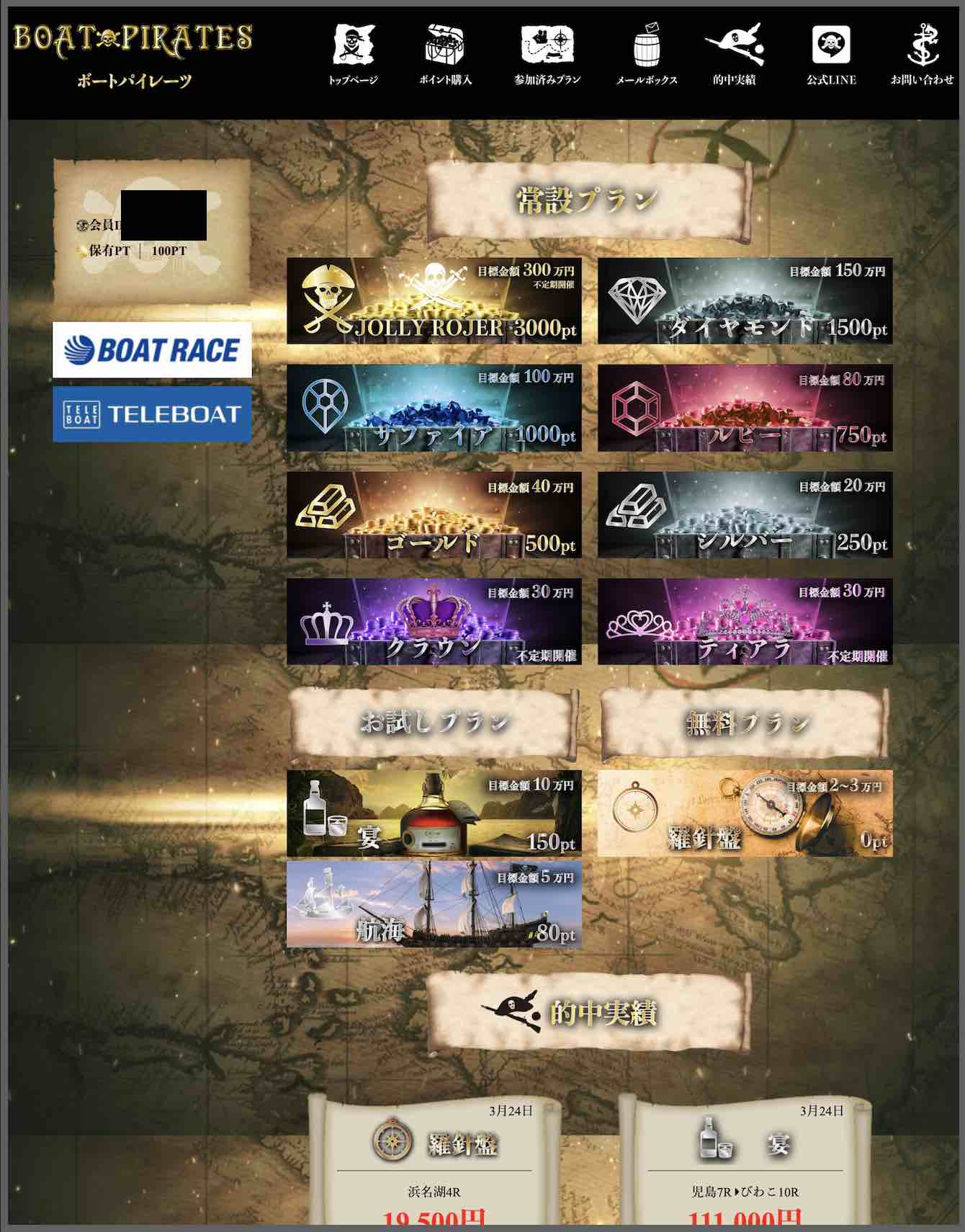 ボートパイレーツという競艇予想サイト(ボートレース予想サイト)の会員ページ