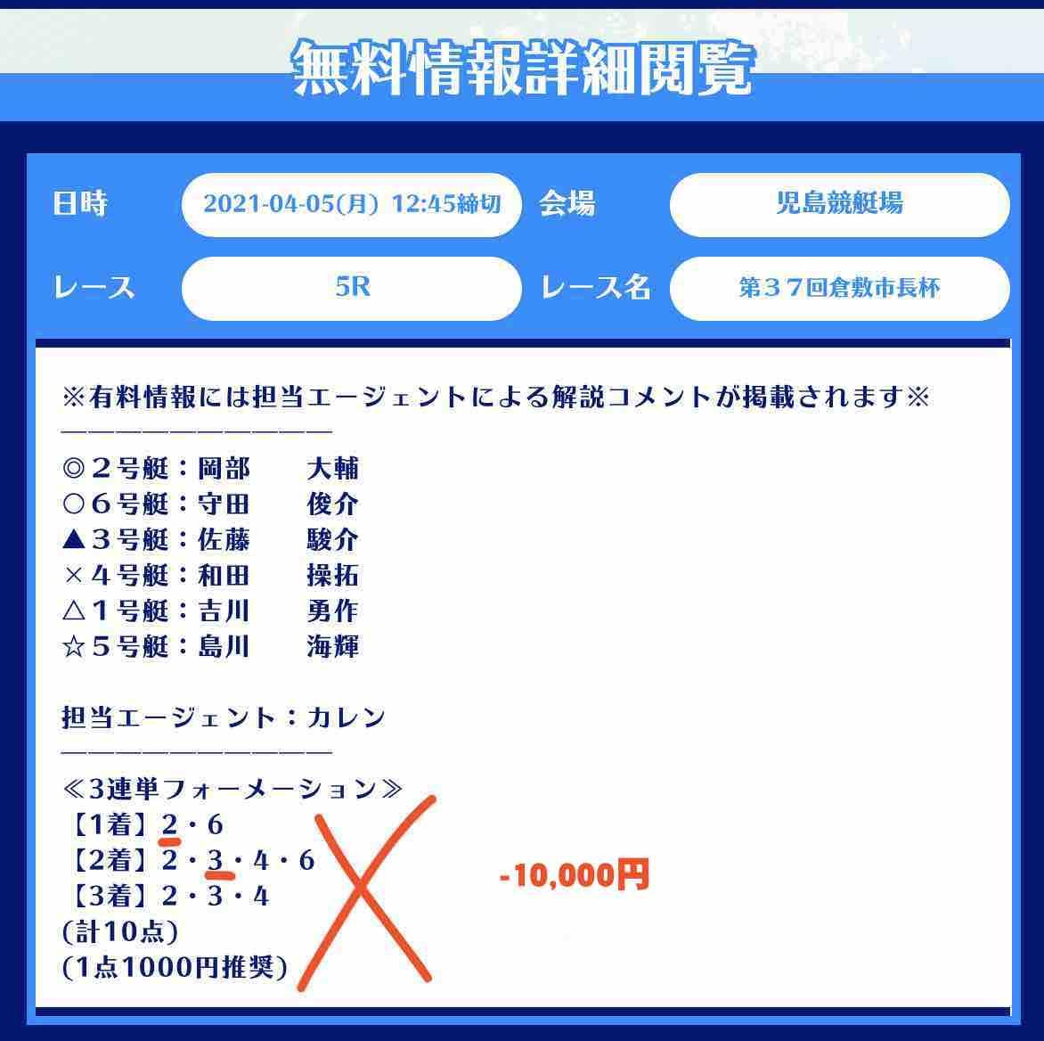 舟生という競艇予想サイトの無料予想(無料情報)の抜き打ち検証-児島5R