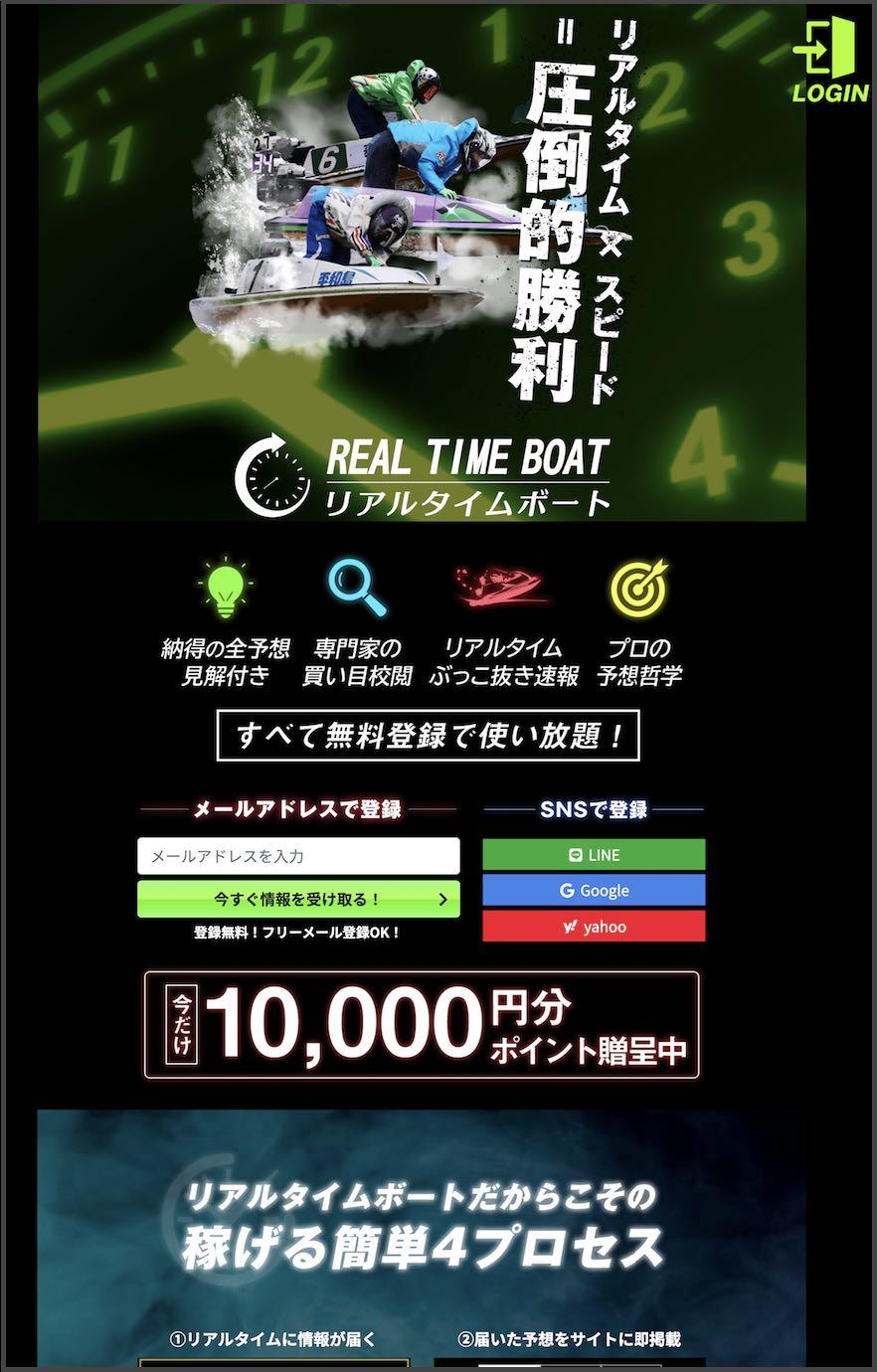 リアルタイムボートという競艇予想サイト(ボートレース予想サイト)の非会員TOPページ