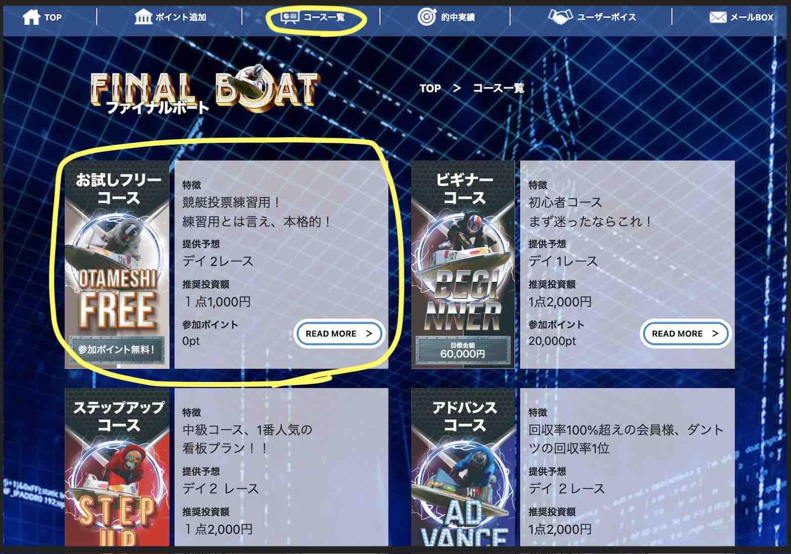 ファイナルボートという競艇予想サイト(ボートレース予想サイト)の無料予想を確認する